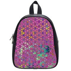 Flower Of Life Paint Purple  School Bag (small) by Cveti