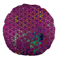 Flower Of Life Paint Purple  Large 18  Premium Flano Round Cushions by Cveti