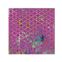 Flower Of Life Paint Purple  Small Satin Scarf (square) by Cveti