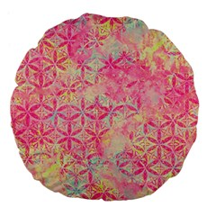 Flower Of Life Paint Pattern 08jpg Large 18  Premium Flano Round Cushions by Cveti