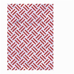 Woven2 White Marble & Red Denim (r) Small Garden Flag (two Sides) by trendistuff