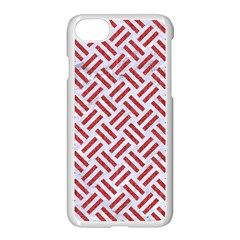 Woven2 White Marble & Red Denim (r) Apple Iphone 7 Seamless Case (white) by trendistuff