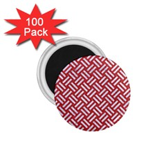 Woven2 White Marble & Red Denim 1 75  Magnets (100 Pack)  by trendistuff