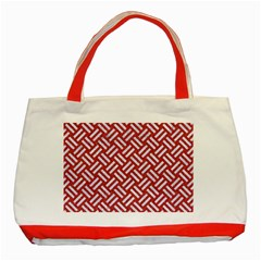 Woven2 White Marble & Red Denim Classic Tote Bag (red) by trendistuff