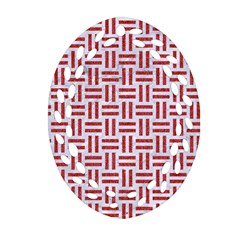 Woven1 White Marble & Red Denim (r) Oval Filigree Ornament (two Sides) by trendistuff