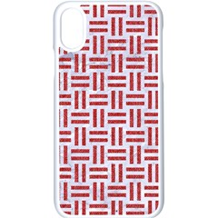 Woven1 White Marble & Red Denim (r) Apple Iphone X Seamless Case (white)