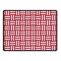 Woven1 White Marble & Red Denim Fleece Blanket (small) by trendistuff