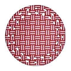 Woven1 White Marble & Red Denim Ornament (round Filigree) by trendistuff