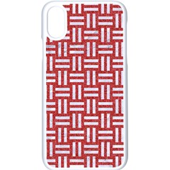 Woven1 White Marble & Red Denim Apple Iphone X Seamless Case (white)