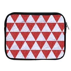 Triangle3 White Marble & Red Denim Apple Ipad 2/3/4 Zipper Cases by trendistuff