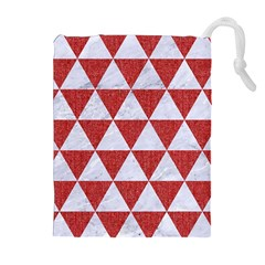 Triangle3 White Marble & Red Denim Drawstring Pouches (extra Large) by trendistuff