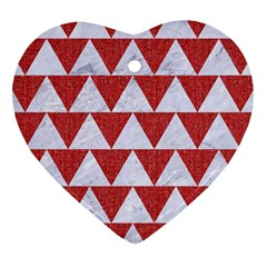 Triangle2 White Marble & Red Denim Heart Ornament (two Sides) by trendistuff