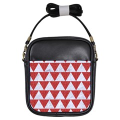 Triangle2 White Marble & Red Denim Girls Sling Bags by trendistuff