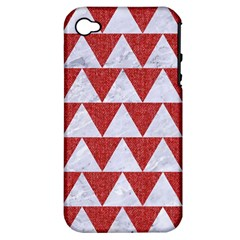 Triangle2 White Marble & Red Denim Apple Iphone 4/4s Hardshell Case (pc+silicone) by trendistuff