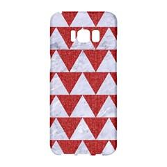 Triangle2 White Marble & Red Denim Samsung Galaxy S8 Hardshell Case