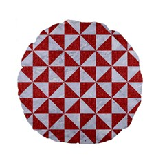 Triangle1 White Marble & Red Denim Standard 15  Premium Flano Round Cushions by trendistuff