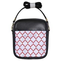 Tile1 White Marble & Red Denim (r) Girls Sling Bags by trendistuff