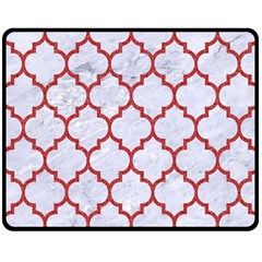 Tile1 White Marble & Red Denim (r) Double Sided Fleece Blanket (medium)  by trendistuff