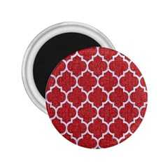 Tile1 White Marble & Red Denim 2 25  Magnets by trendistuff