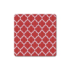 Tile1 White Marble & Red Denim Square Magnet by trendistuff
