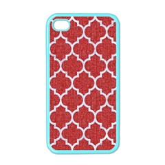 Tile1 White Marble & Red Denim Apple Iphone 4 Case (color) by trendistuff