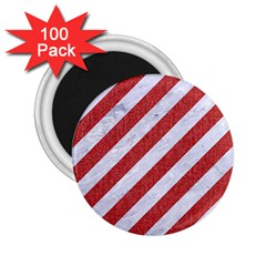 Stripes3 White Marble & Red Denim (r) 2 25  Magnets (100 Pack)  by trendistuff