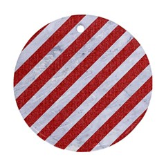 Stripes3 White Marble & Red Denim (r) Round Ornament (two Sides) by trendistuff