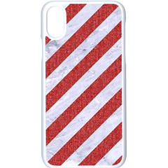 Stripes3 White Marble & Red Denim (r) Apple Iphone X Seamless Case (white)