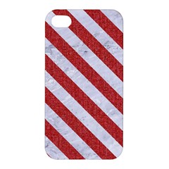 Stripes3 White Marble & Red Denim Apple Iphone 4/4s Premium Hardshell Case by trendistuff