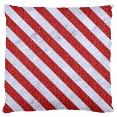 Stripes3 White Marble & Red Denim Large Flano Cushion Case (two Sides) by trendistuff