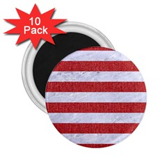 Stripes2white Marble & Red Denim 2 25  Magnets (10 Pack)  by trendistuff