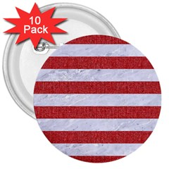 Stripes2white Marble & Red Denim 3  Buttons (10 Pack)  by trendistuff