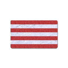 Stripes2white Marble & Red Denim Magnet (name Card) by trendistuff