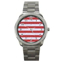 Stripes2white Marble & Red Denim Sport Metal Watch by trendistuff