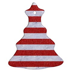 Stripes2white Marble & Red Denim Christmas Tree Ornament (two Sides) by trendistuff