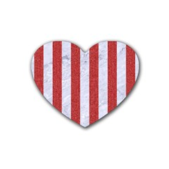Stripes1 White Marble & Red Denim Rubber Coaster (heart)  by trendistuff