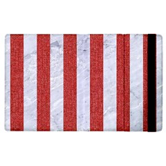 Stripes1 White Marble & Red Denim Apple Ipad 3/4 Flip Case by trendistuff