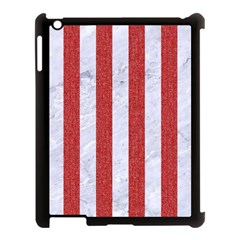 Stripes1 White Marble & Red Denim Apple Ipad 3/4 Case (black) by trendistuff