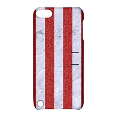 Stripes1 White Marble & Red Denim Apple Ipod Touch 5 Hardshell Case With Stand by trendistuff