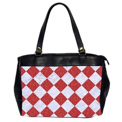 Square2 White Marble & Red Denim Office Handbags (2 Sides)  by trendistuff