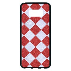 Square2 White Marble & Red Denim Samsung Galaxy S8 Plus Black Seamless Case
