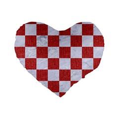 Square1 White Marble & Red Denim Standard 16  Premium Flano Heart Shape Cushions by trendistuff