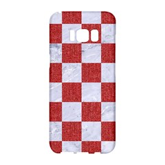 Square1 White Marble & Red Denim Samsung Galaxy S8 Hardshell Case