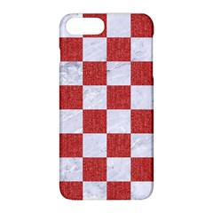 Square1 White Marble & Red Denim Apple Iphone 8 Plus Hardshell Case