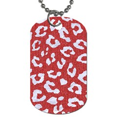Skin5 White Marble & Red Denim (r) Dog Tag (two Sides) by trendistuff