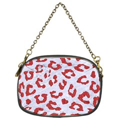 Skin5 White Marble & Red Denim Chain Purses (one Side)  by trendistuff