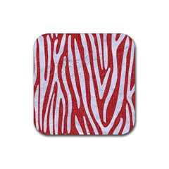 Skin4 White Marble & Red Denim (r) Rubber Square Coaster (4 Pack)  by trendistuff