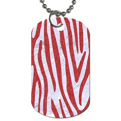Skin4 White Marble & Red Denim Dog Tag (two Sides) by trendistuff