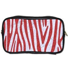 Skin4 White Marble & Red Denim Toiletries Bags 2 Side by trendistuff