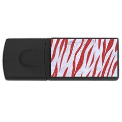 Skin3 White Marble & Red Denim (r) Rectangular Usb Flash Drive by trendistuff